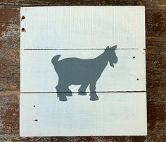 Goat Silhouette Art, Goat Decor, Farm Animal Art Painting Nursery, Pallet Wood Art Decor, Rustic Decor, Farmhouse, Gray White Wall Hanging, Reclaimed Wood