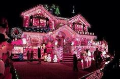 Check out this pink christmas house! Pink Christmas Lights, Christmas Light Displays, Decoration Christmas, Noel Christmas, Holiday Lights, Outdoor Christmas, Winter Christmas, All Things Christmas, Holiday Fun