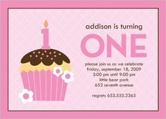 First Cupcake Birthday Invitation