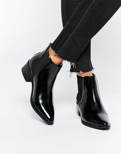Selected | Selected Femme Elena Black Leather Point Ankle Boots at ASOS