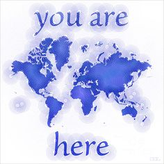 World Map Zona with 'You Are Here' text In Blue And White by elevencorners. World map wall print decor. #elevencorners #mapzona