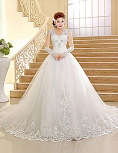 Ball Gown V-neck  Chapel Train Lace And Tulle Wedding Dress