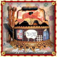 Apple Tree Cottage Original Design E Pattern  - Primitive Blessings Tea Kettle