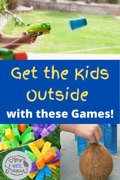 These are awesome outdoor games for kids to play this summer! There are so many fun, childhood classic games and activities that are perfect for playing in the backyard or at the neighbourhood park. Get those kids outside and bring back PLAY! Outdoor Games To Play, Outside Activities For Kids, Outdoor Summer Activities, Games To Play With Kids, Summer Fun For Kids, Outdoor Activities For Kids, Backyard Games, Outside Kid Games, Backyard Ideas