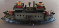 Antique German Tin Litho Wind Up Gun Boat Toy Dreadnought C1900