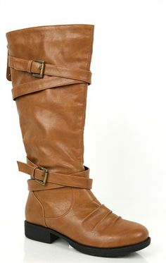 Deb Shops wide width mid height riding boot with buckles and crossover straps