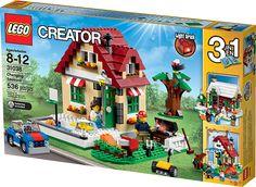 LEGO CREATOR 31038 Skiftende årstider Konstruktionssæt med LEGO klodser: CREATOR Skiftende årstider (31038)Nyd sommeren, efteråret eller vinteren med det vidunderlige 3 i1-sæt LEGO CREATOR Skiftende årstider! Velkommen til det charmerende sommerhus med dets mørkerøde tegltag, grønne fordør, røde og hvide markiser og farverige blomsterkasser. Udenfor sidder en lille fugl i et højt æbletræ, og en skinnende blå bil funkler i det kraftige solskin, der oplyser den dejlige have med græsplæne…