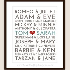 Famous Couples Subway Print - 8x10 Fully Customizable - Unique Wedding, Valentines or Anniversary (Digital Copy included for Free)