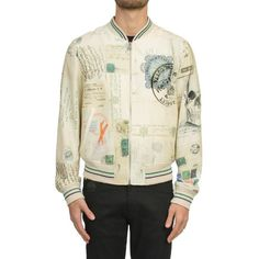 Alexander Mcqueen 'Letters From India' Bomber Jacket (£1,286) ❤ liked on Polyvore featuring men's fashion, men's clothing, men's outerwear, men's jackets, multicolor, mens zip jacket, letter mens jacket and alexander mcqueen mens jacket