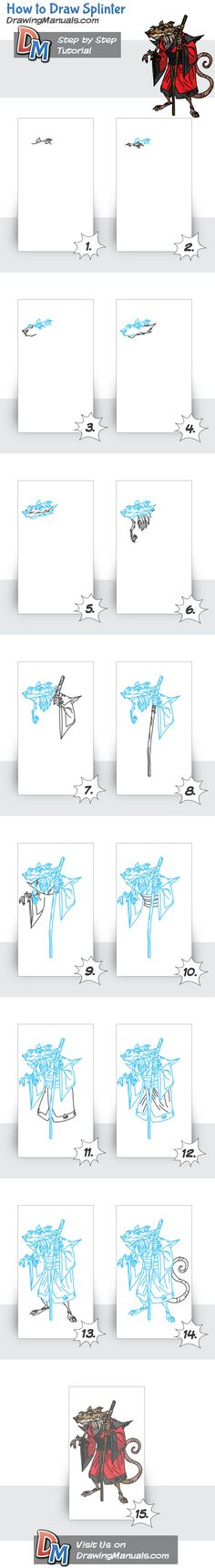 How to Draw Splinter from TMNT, Cartoons