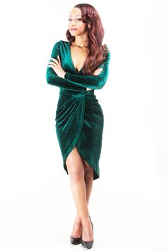 Emerald Green Velvet Wrap Dress-2