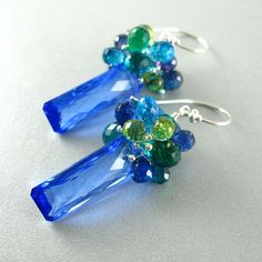 Cobalt Blue Topaz and Quartz Gemstone Sterling by SurfAndSand, $149.00
