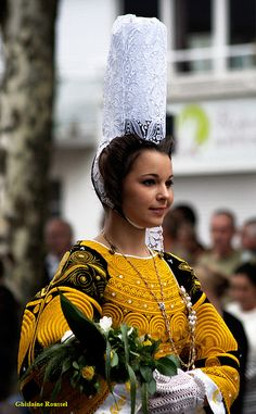 Bigoudène, Lorient, Bretagne ~ Brittany, France. Each town in Brittany had its own coiffe or hat, worn by girls and women. The variety is amazing, and can still be seen at traditional fairs and fêtes .