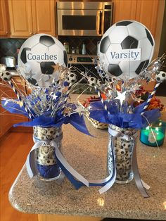 Baby Shower Ides For Boys Sports Basketball Center Pieces 58 Ideas - OSC Soccer Soccer Birthday Parties, Soccer Party, Sports Party, Soccer Ball, Cheer Banquet, Football Banquet, Sports Banquet Centerpieces, Banquet Decorations, Graduation Decorations