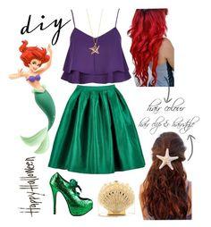 """DIY Ariel Halloween Costume"" by avonsblessing94 ❤ liked on Polyvore featuring River Island, Viva Bordello, Elsa Peretti, Charlotte Olympia, Disney and DIYHalloween"