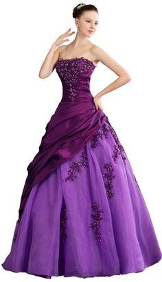 Herafa Strapless Ball Gown Wedding Dress Floor Length Embroidery & Rows of Flowers & Delicate Beading Purple Size:14 herafa,http://www.amazon.com/dp/B00BM6QHWQ/ref=cm_sw_r_pi_dp_Z5W4rb0AKH5D538N
