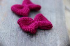 Mini Knit Hair Bow - Set of 2