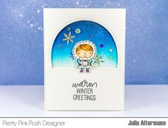 Clean and Simple Winter Card |  Pretty Pink Posh | warm winter wishes by Julia