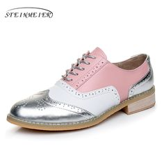 b76b83ca4 Mujeres de los planos de Cuero Zapatos Oxford Para Las Mujeres Mujer Grande  Tamaño 11 Diseñador Vintage Creepers Zapatos planos de Punta Redonda Hecha  A ...