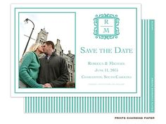 Aqua Initials Save the Date Card with Photo