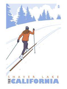 Cross Country Skier, Shaver Lake, California Premium Poster.
