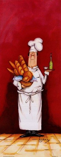 Chef With Bread And Oil Fine-Art Print by Tracy Flickinger at Sears Art Chef Kitchen Decor, Kitchen Art, Kitchen Pics, Chef Pictures, Le Chef, Food Art, Fine Art Prints, Whimsical, Illustration Art