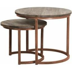 Buy Cuzco Brown Nest of 2 Coffee Tables - Copper and Wood Online ✓ Free 2 Man Delivery ✓ Pay Deposit ✓ Price Beat Promise ✓ Happy Customers. Cube Side Table, Side Table With Storage, Round Side Table, 2 Coffee Tables, Decorating Coffee Tables, Coffee Coffee, Diy Interior, Interior Decorating, Nesting Tables
