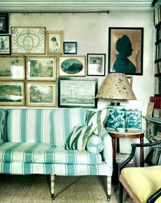 """Min Hogg says hanging pictures requires """"a practiced eye"""". She recommends taking a picture of your gallery arrangement to """"see where you've gone wrong"""". Image from her London apartment."""