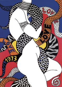Yves Saint Laurent, carte de vœux « LOVE » de 1973.