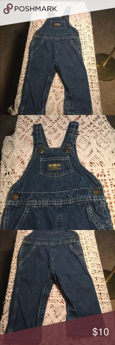OshKosh B'gosh Denim Overalls SZ-18 Months OshKosh B'gosh Dark Denim Overalls  SIZE- 18 Months  Dark Rinse Wash PRODUCT FEATURES * Adjustable shoulder straps * Nickel-free snaps * Functional pockets * 5- pockets * Durable denim construction IN EXCELLENT CONDITION!  COMES FROM SMOKE AND PET FREE ENVIRONMENT! OshKosh B'gosh Bottoms Jeans