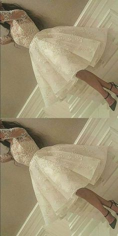 Half Sleeves Short Homecoming Party Dress with Lace