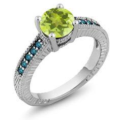 1.37 Ct Round Yellow Lemon Quartz Blue Diamond 925 Silver Engagement Ring