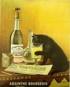 Publicité Vintage - Chat noir le museau dans un verre - Absinthe Bourgeois