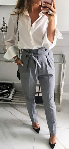 #fall #outfits  women's white dress shirt and gray dress pants