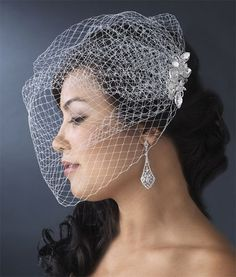 Wedding Bridal Cage Veil with Crystal Floral Comb 460 $99.95