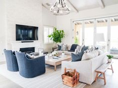 Tan Sectional with Blue Accent Chairs - Transitional - Living Room Living Room Chairs, Accent Chairs For Living Room, Transitional Living Rooms, Blue Chairs Living Room, Farm House Living Room, Tan Living Room, Living Room Designs, Living Room Grey, Living Room Sectional