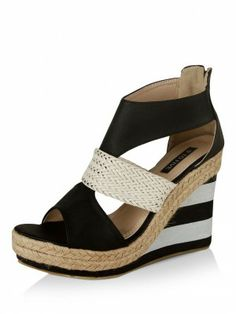 cf66fee0d01d 9 To Five Woven Strap High Heel Wedges buy from koovs.com