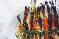 roasted carrots over risotto