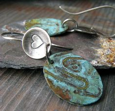 Rustic brushed sterling silver copper verdigris by PoseidonsBooty, $42.00