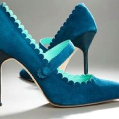 The Manolo Blahnik Scalloped Suede Mary Jane Pump
