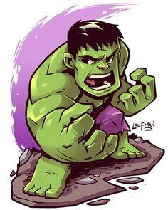 regram @dereklaufman Chibi Hulk! Prints available at dereklaufman.com (link in…