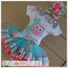 Aqua and Pink Owl Birthday TuTu and Hair by LilBirthdayBoutique