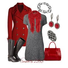 """Adore grey and red!  """"Simply Red"""" by smores1165 on Polyvore"""