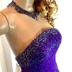 Alyce Paris Beaded Purple Chiffon Gown Gorgeous strapless just worn once, like new Alyce gown with beads and tiny sequins in a wave design from and back. Comes with a custom sheer purple stole. Alyce Paris Dresses Prom