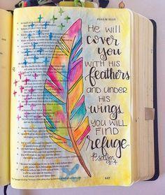 Bible Journaling by Grace Veenker @graceveenker | Psalm 91:4
