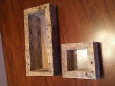 Rustic mirror shadow boxes.
