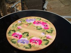 Pansies on a lazy susan