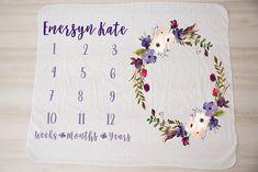 Newborn Milestone Blanket: Personalized Violet Floral Wreath Baby Milestone Blanket, Milestone Blankets, Monthly Photos, Baby Milestones, Baby Grows, Personalized Baby, Newborn Photos, Floral Wreath, Wreaths