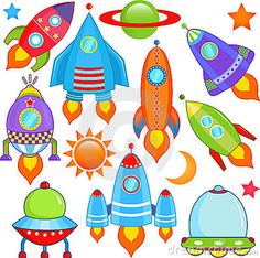 Vector - spaceship Spacecraft Rocket UFO - stock illustration royalty free illustrations stock clip art icon stock clipart icons logo line art EPS picture pictures graphic graphics drawing drawings vector image artwork EPS vector art Space Party, Space Theme, Drawing For Kids, Art For Kids, Astronaut Party, Spacecraft, Stars And Moon, Outer Space, Art Lessons