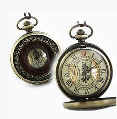 Unisex Mechanical Analog Vintage Alloy Bronze Case Pocket Watch